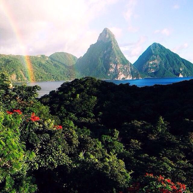A stunning double rainbow! #ansechastanet #stlucia #luxury #travel #beauty