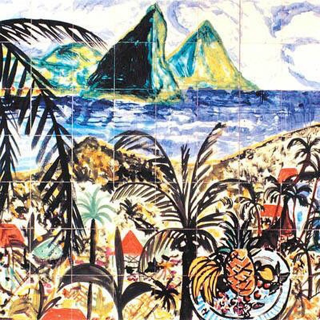 One of our favorite artworks of #ansechastanet by Stefan Szczesny. #stlucia #art #culture #caribbean #tile #artwork #caribbeanart