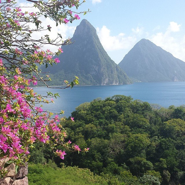 Hello Pitons! #luxury #travel #gorgeous #view #ocean #paradise #ansechastanet #stlucia #regram @funnsuntravel